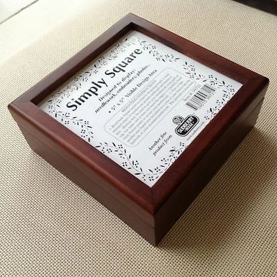 "Sudberry Simply Square Box for Needlework Insert 5"" x5""  mahogany"