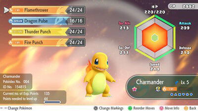 Pokemon Let's Go Pikachu & Eevee -  Shiny charmander - 6IV