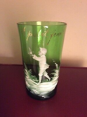 """Antique Mary Gregory Victorian Green Souvenir Glass """" From Ramsgate"""" England"""