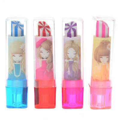 2pcs Colorful Lipstick Rotary Rubber Eraser Stationery Pencil Kids Students