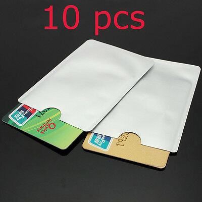 10Pcs RFID Secure Protector Blocking ID Credit Card Sleeves Holder Case Skin Lot