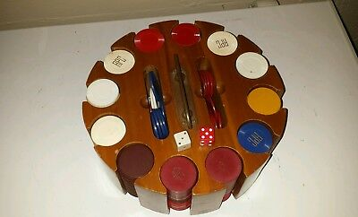 Vintage Wood  Poker Chip Caddy Card Holder Rotating Carousel Bakelite/Plast/clay