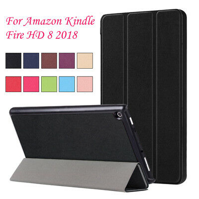 For Amazon Kindle Fire HD8 2018 Sleep/Wake Ultra Slim Trifold Leather Case Cover
