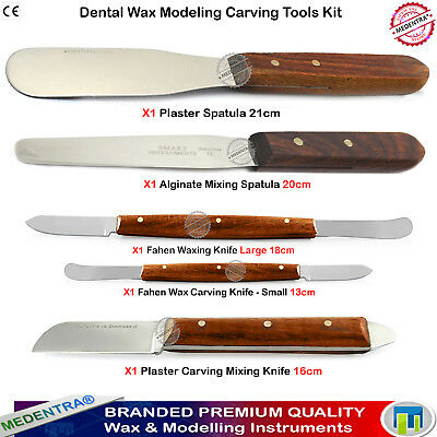 5 Carving Lab Tools Wax Alginate Spatulas Knives Plaster, Clay Scraping, Mixing