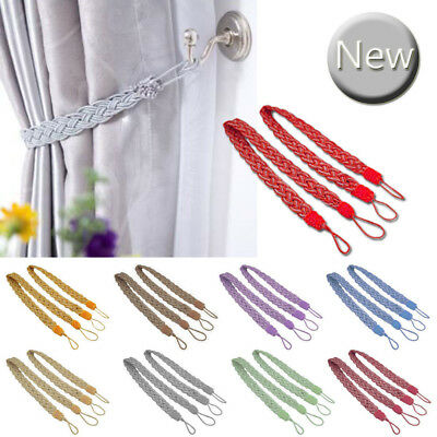 1Pair Braided Satin Rope Tassel Curtain Tie Backs Voile Tiebacks Home Decoration