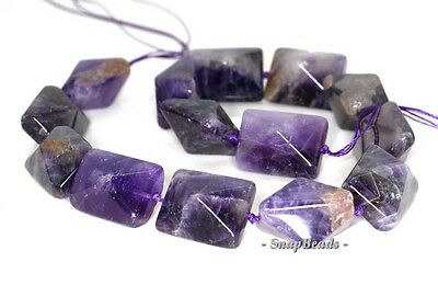 16X12MM AMETHYST GEMSTONE PURPLE FACETED BICONE RECTANGLE LOOSE BEADS 7.5/""