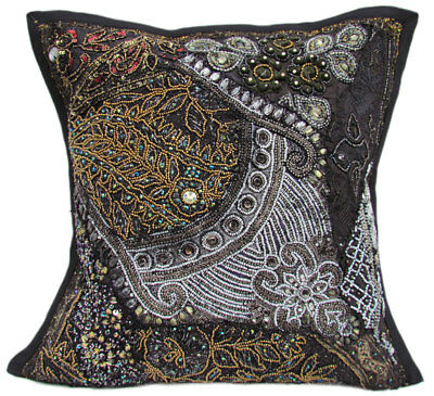 "16"" Indian Cotton Beaded Patchwork Floral Design Decorative Cushion Cover"