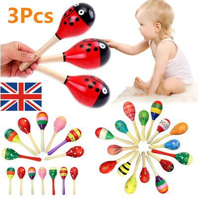 3Pcs Wooden Maraca Rattles Musical Baby Children Shaker Kids Development Toy