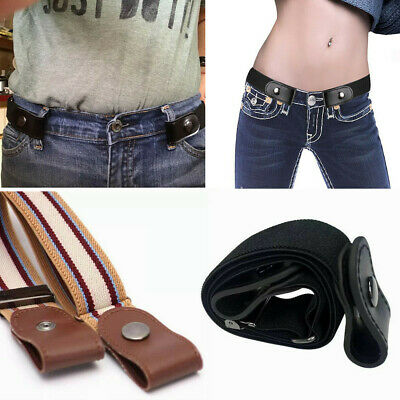 Invisible Belt for Jeans No Bulge No Hassle Genuine Leather Buckle-free Elastic