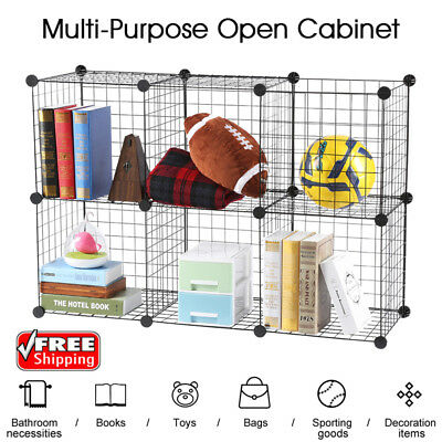 6-Cube Wire Grid Bookcase Organizer Storage Shelf Rack Cabinet Wardrobe Closet