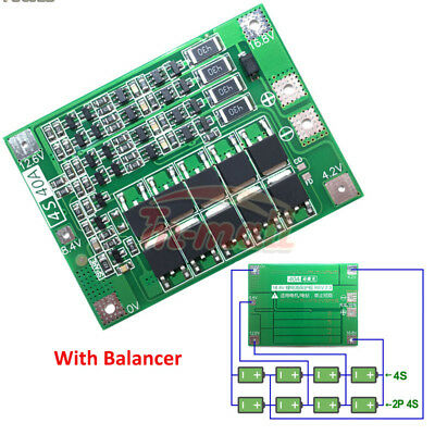 4S 40A Li-ion Lithium 18650 Battery PCB Protection Board BMS Balanced for Drill