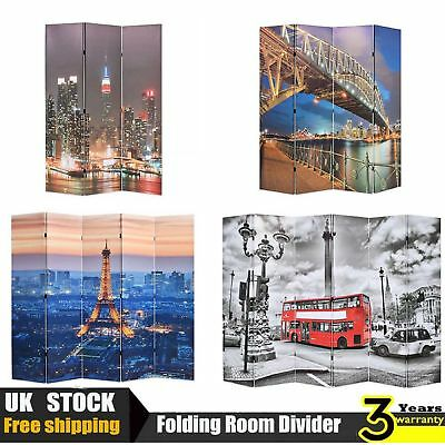 Folding Room Divider Print Double-sided Wood Frame Canvas Cover 4 Styles 4 Sizes