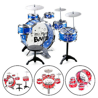 Red+Blue Rock Drum Kit Childrens Cymbal Music Percussion Playset Stool Toy Gift