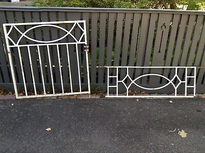 Vintage Retro Wrought Iron Gate And Fence Section.