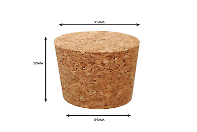 Tapered Natural Cork Stoppers Bungs Bottle Homebrew Beer Wine 89mm dia Bottom