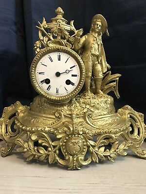 Beautiful French Gilt Ormolu Figurine Mantle Clock
