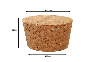 Tapered Natural Cork Stoppers Bungs Bottle Homebrew Beer Wine 127mm dia Bottom