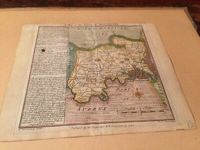 Antique 18th Century Map Of Middlesex