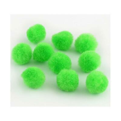 25 x Lime Green 20mm Fluffy Yarn Pom Poms For Sewing, Cardmaking & Crafts Y13680