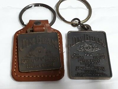 Jim Beam -  double sided key ring  + key ring on leather - collectable