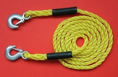 """3000KG Tow Rope Recovery """"Heavy Duty"""" 3 Metres x 14mm Snap Lock Metal Hooks NEW"""