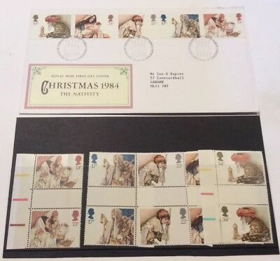 Gb Stamps Qeii #1267-1271 1984 Christmas Nativity Set Gutter Pairs + Fdc Mnh Vf