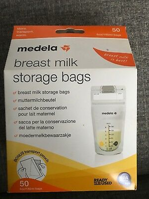 NEW Medela Breast Milk Storage Bags, 50 bags - with Transport pouch