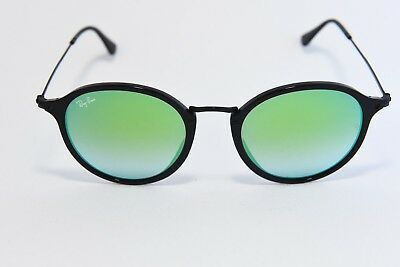 47ae06a2d9 Ray-Ban Rb 2447 901 4J Round Sunglasses Black   Green Mirror 52-