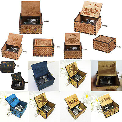 Music Box Wooden Engraved Movie Frozen/Beauty and the beast/Harry Potter Lots