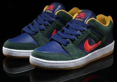 Mens Nike SB Air Force II Low Midnight Green Habanero Red Blue Void AO0300- 364 5493a1f8517