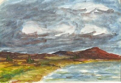 Robert Warren, Lakeside View with Dramatic Skies - 1945 watercolour painting