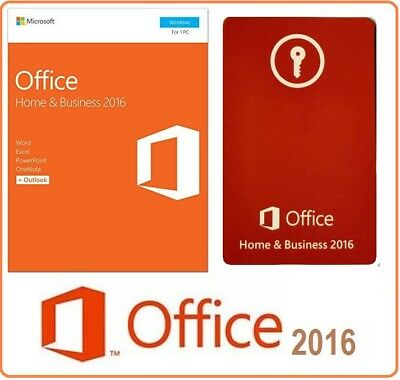 Microsoft Office HOME And BUSINESS 2016 LICENSE USED RETAIL MEDIA-LESS 1PC CARD