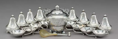 A Nineteen-Piece Group of Georg Jensen Silver, Glass, and Horn Table Accessories