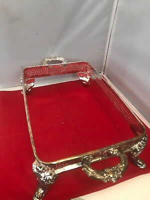 "Vintage 17"" X 8 1/2"" Casserole Metal Silver Plated Holder W/ Handles No Dish"