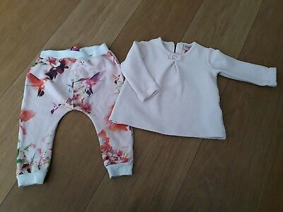 Ted Baker Designer Baby Girls Pink 2 Piece Outfit  Patterned Aged 12-18 Mths