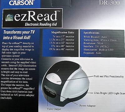 Carson EZ Read DR 300 Electronic Reading Aid  Transforms A TV Into A Visual Aid