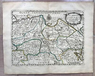 Tartary Russia Dated 1652 Nicolas Sanson D'abbeville Nice Antique Engraved Map