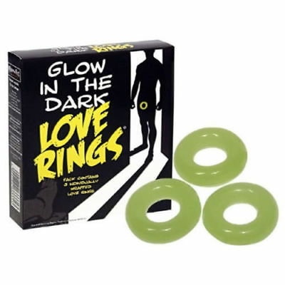 3 Pack Glow In The Dark Love Rings Adult Valentines Gift Hen Party Stag Do Funny