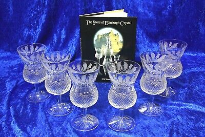 6X GENUINE Edinburgh Crystal Thistle Large Water Wine Goblets 6.5 In 1st QUALITY