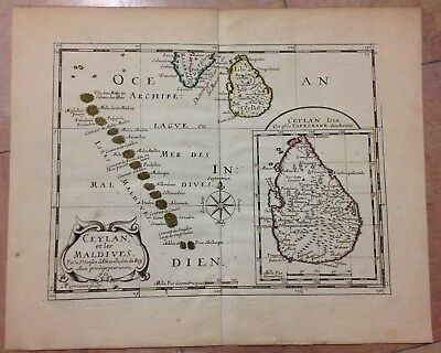 Ceylon Maldives Dated 1651 Nicolas Sanson Unusual Antique Engraved Map