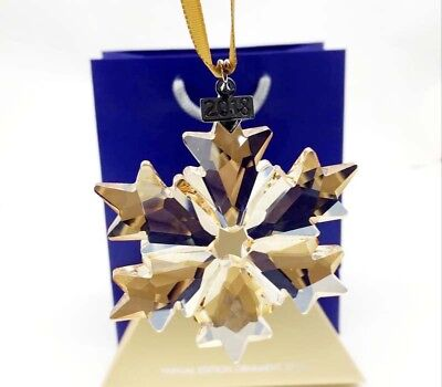 2018 Swarovski Crystal Gold-Champagne ANNUAL LARGE CHRISTMAS ORNAMENT 5301575
