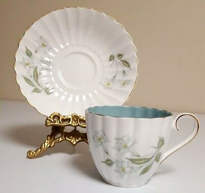 Susie Cooper White Lily Ribbed Cup (blue interior) and Saucer Bone China England