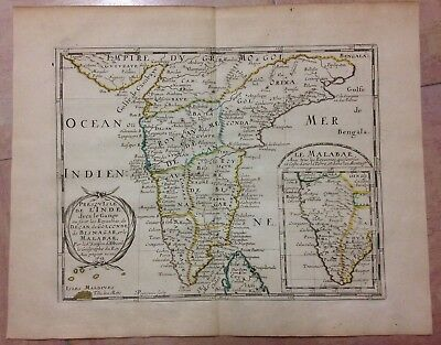 SOUTH INDIA MALABAR'S COAST 1652 NICOLAS SANSON ANTIQUE ENGRAVED MAP 18e CENTURY