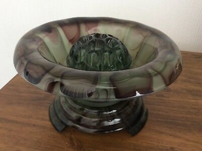 Art Glass Art Deco Davidson Amber Pressed Glass Flower Bowl & Frog Pattern 3829021