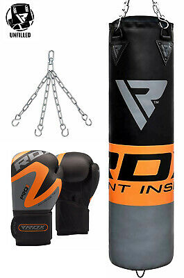 RDX Heavy Punching Bag Set Unfilled Boxing Gloves Chain Training Punch Kick Bag