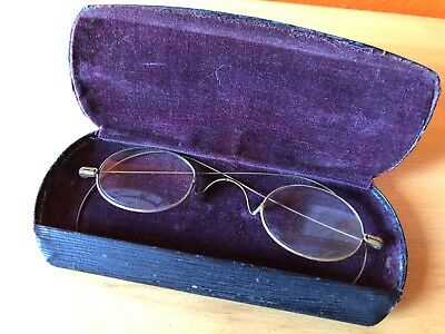 VINTAGE Victorian Metal Wire Rim Eye Reading Glasses Oval Round granny steampunk
