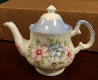 English Bone China Miniature Tea Pot with Hand Decorated Multi-Flower Design