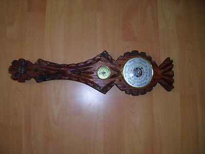 antike Wetterstation-Barometer-Thermometer Holz Schnicerei