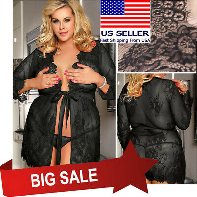 Black Sheer Floral Lace Sleeved Robe & Panty Set Boudoir Nightgown Lingerie M-5X