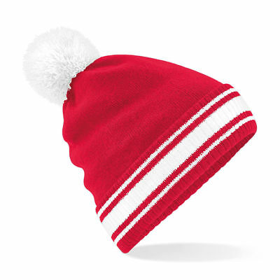 joblot Stadium Sports Football Team Colours  Knitted Beanie Bobble Hat red/white